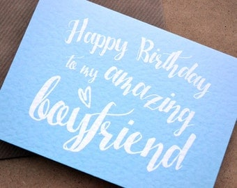 "Birthday Greetings Card - ""Happy Birthday to my Amazing Boyfriend"" with C6 Kraft Envelope - Blue Ombre Colour"