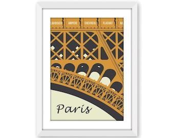 Paris Art Print in Toffee/Cream, Paris Eiffel Tower digital wall art, Eiffel Tower poster, Paris decor, Paris related gift, A4, 8x10 print