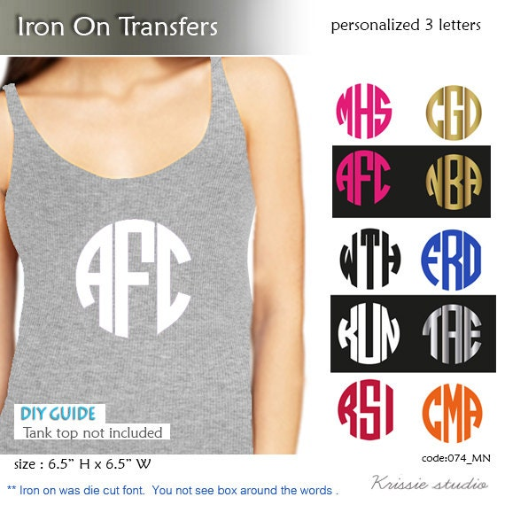 monogram iron on transfer personalized 3 initial With transfer letters for t shirts