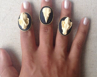 Macabre Animal Skull Ring - Choose One of Three - Black and White Cameo Statement Accessories - Edgy Eerie Unique Gothic Halloween Jewelry