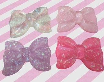 53mm Giant Pastel Glitter Bows Decoden Resin Cabochons, 4pc set