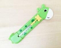 Giraffe Paper Cutter - Green (1 pc) Korean Stationery Paper Cut Cutting Knife E0230