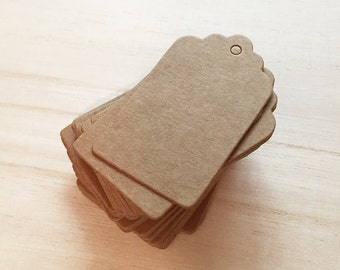 3x5 cm Brown Kraft Scallop Blank Tags (50 pcs) Favor Tags Swing Tags Card Blanks C0065