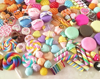 Decoden Sweets Cabochon Mix (10 pcs by RANDOM) Kawaii Cabochons Resin Polymer Clay Cell Phone Deco A0131