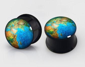 Vintage Globe Ear  Plugs, Screw Flesh Tunnel Ear Plug Taper Earring Stretcher Plug Ear Tunnel,Free Gift Box,body piercing,Tattoo Ear Plugs