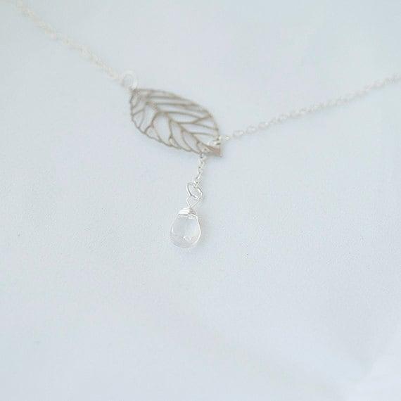 Lariat Ice Quartz Necklace. Leaf Lariat Necklace.