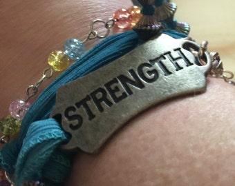Strength - Ribbon and Bead Wrap Bracelet