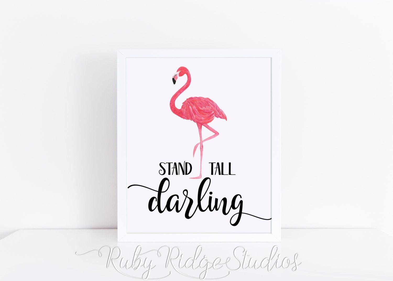 Watercolor Flamingo Wall Art Print Stand Tall Darling