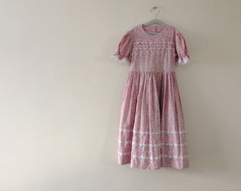 Vintage Prairie Dress - Girls size 6 or 6x - Butterfly and Eyelet lace