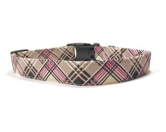 Dog Collar - Coco Plaid Dog Collar, Pink and Brown Plaid Durable Fabric Dog Collar, Burberry Xs, S, M, L, Xl