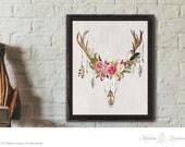 floral antler art print instant download printable floral deer art DIY art print wall art prints rustic art prints home decor printable art
