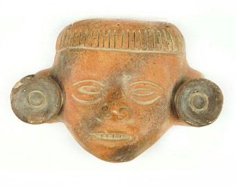 Vintage African Ceramic Mask Human Face With Earplug Plug Plugs Earring Jewelry Made In Africa Art Hand Made