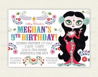 Sugar Skull Birthday Invitation Day Of The Dead Dia de los Muertos Printable Digital Invite