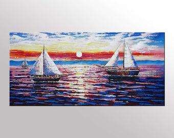 Original Art Seascape Sail Boat Painting Extra Large Canvas Wall Art Canvas Art Abstract Wall Art Living Room Wall Decor Ready to Hang Art