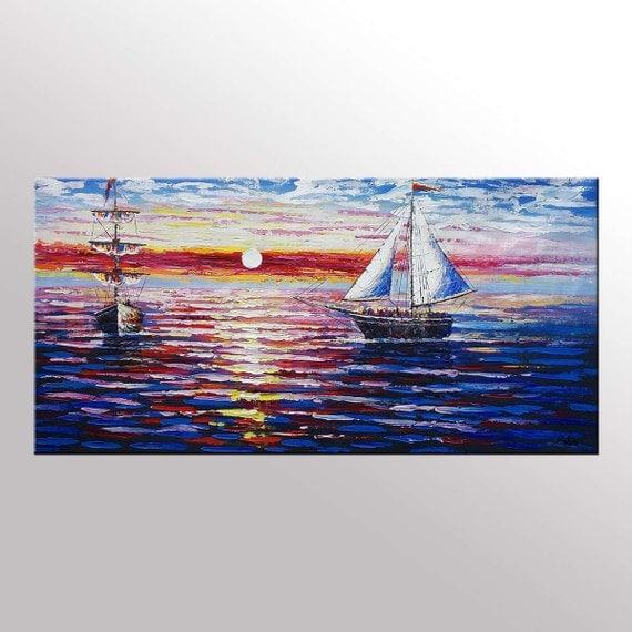 extra large canvas wall art original art seascape sail. Black Bedroom Furniture Sets. Home Design Ideas