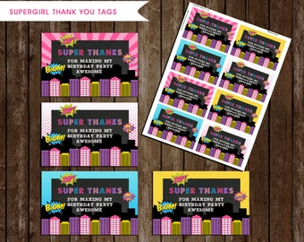Superhero Girl Thank you Tags, INSTANT DOWNLOAD, Supergirls Thank you Labels, Supergirls Birthday Party, Supergirls Party Favors