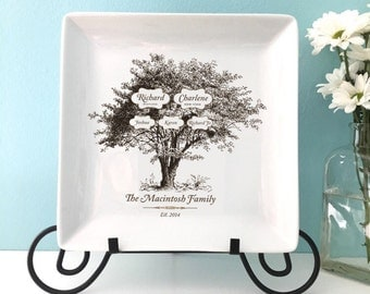 Custom Personalized Family Tree Square Plate Platter Heirloom Wedding Anniversary Housewarming Gift