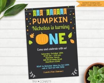 pumpkin birthday invitation, pumpkin first birthday invitation, fall birthday invitation, kids birthday, 1st birthday, little pumpkin