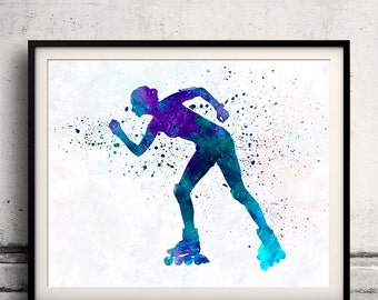 Woman roller skater inline 06 - Fine Art Print Glicee Poster Home Watercolor sports Gift Room Children's Illustration Wall - SKU 2256