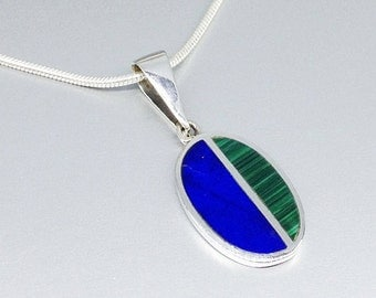 Pendant Lapis Lazuli and Malachite with Sterling silver and chain - inlay work - gift idea - oval pendant dual color - men's pendant