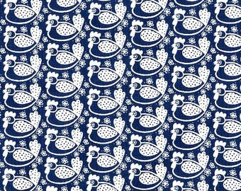 Westfalenstoffe Fabrics Germany - Hennen in Navy - Hens Chickens Farm - Imported German Fabric