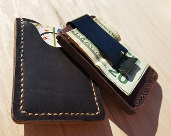 Mens Leather Money Clip // Wallet // Card Case // Classic // Horween // HandStitched // USA  // America // Custom