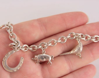 Charm Bracelet, Sterling Silver, Vintage Jewelry Lucky Charm