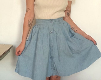 80s light denim skirt