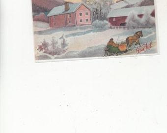 Norsk Norway Vintage Christmas Postcard Litho God Jul, Farmhouse,Barn, Horse Pulling Sled,Snow