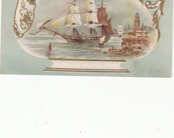 Victorian Teapot Card 1880s Clipper Ship Reverse Side Men's Clothing,Some Embossing
