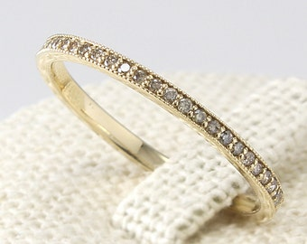 Thin Diamond Eternity Band 14K Solid Gold, Champagne Diamond Ring, Diamond Wedding Band