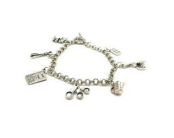 Baking Charm Bracelet, Baking Bracelet, Cooking Charm Bracelet, Baker Bracelet, Love To Bake Bracelet, Gift Under 20, Chef Charm Bracelet,