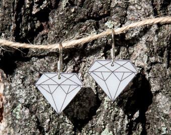 Diamond shrink plastic earrings