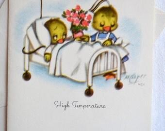 UNUSED Vintage Greeting Note Card - Get Well Duckling in Hospital Bed Nurse - Marjorie Cooper
