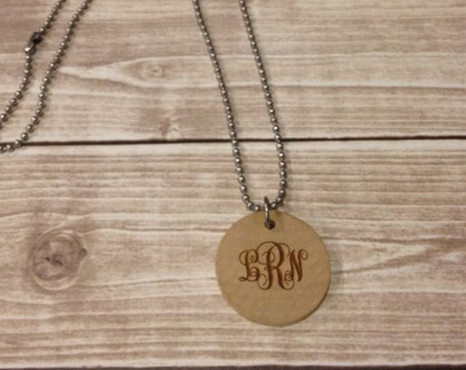 3 Letter Curly Monogrammed Wood Engraved Necklace