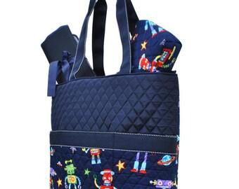 Diaper Bag, Robot, 3 Piece Set, Diaper Bag, Changing Mat, Acc. Bag, Monogrammed