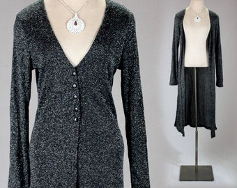 Vintage LUREX long black metallic sweater women/boho party blouse/maxi black cardigan/silver sweater coat/black evening jacket/sequin jacket