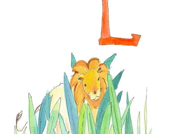 "Alphabet letter L-Lion-jungle-5X7""-8X10""-Childrens art-Educational-Whimsical-Nursery decor-Nursery wall art- kids rooms"