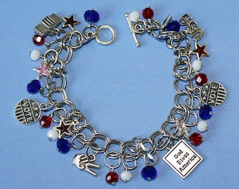 Patriotic Political Democrat and Republican Charm Bracelet