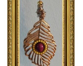 Leaf Ceiling Fan Pull Chain / Light Chain / Home Decor - Gold Leaf - Gold Chain - Rear View Mirror Charm