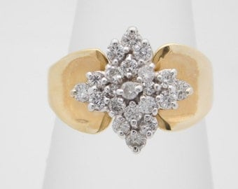 0.50 Carat Total Weight Ladies Diamond Cluster Ring 14K Yellow Gold
