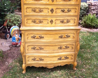 Bedroom Dressers,Painted Dresser,Tall Chest of Drawers,Shabby Chic Dresser,Antique Dresser,Tall Dresser,Dresser,French Provincial,Vintage