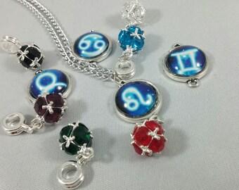 Silver Zodiac Sign Pendant and Birth Stone Mini Cabochon Charm Necklace