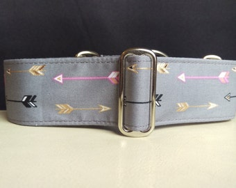 """Martingale Collar - Whippet, and Small to Medium Dog - 1.5"""" width - Pink & Gold Arrows"""
