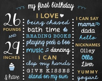 Boy First Birthday Poster - Baby Birthday Sign - Chalkboard 1st Birthday  - Blue and Gold Birthday Decoration