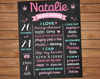 1 Year Old Princess Birthday Chalk Board - First Birthday Blackboard - Bday Stats Chalk Board - 1 Year Old Birthday - Pink and Aqua Birthday