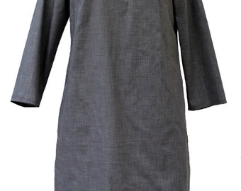 Tunic style shirt dress in cotton, with a slight A-line shape