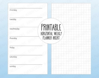 Printable personal planner inserts: Horizontal planner with grid notes page | Weekly planner | Undated week on one page | Instant Download