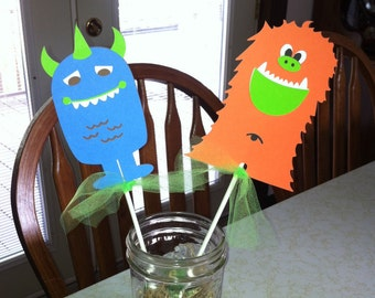 Monster centerpiece sticks set of 4