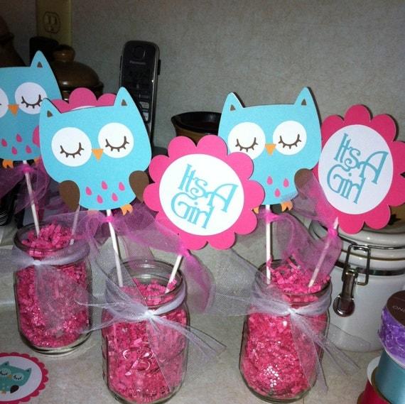Owl Baby Shower Centerpiece Sticks